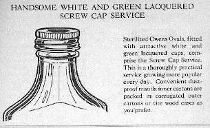 Illustration of a screw top bottle from a 1928 Owens Bottle Company prescription bottle catalog.