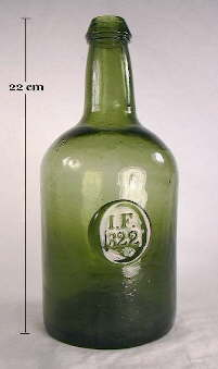 1822 dated Ricketts molded bottle; click to enlarge.