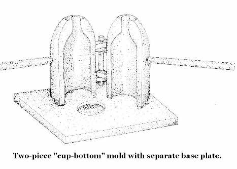 "Illustration of a two-piece ""cup bottome"" mold with a separate base plate; click to enlarge."