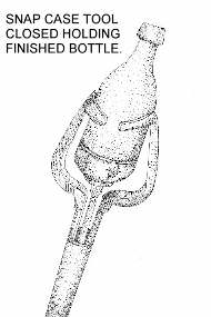 Illustration of a snap case tool closed holding a finished bottle; click to enlarge.