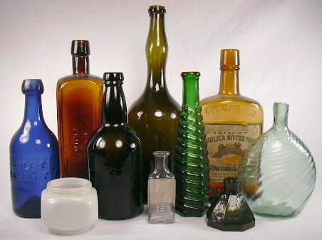 Group of different shaped bottles dating from 1850 to 1920; click to enlarge.