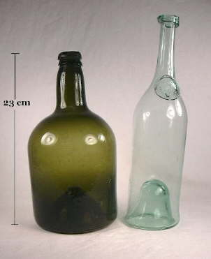 Two free-blown bottles; click to enlarge.
