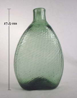 Pale green Pitkin flask; click to enlarge.