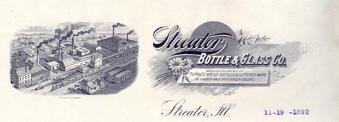Hyperlink to an image of an 1892 Streator Glass letterhead.