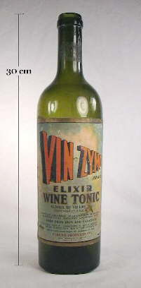 Vin-Zymo tonic in a turn mold wine bottle; click to enlarge.
