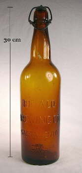 Buffalo Brewing Company, Sacramento, CA. bottle in medium amber color; click to enlarge.