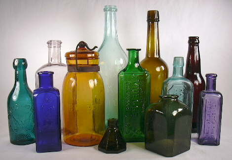 A grouping of historic bottles giving some idea of the spectrum of bottle colors; click to enlarge.
