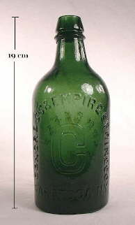 Congress & Empire Spring mineral water in an emerald green color; click to enlarge.