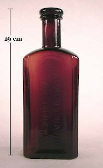 Mrs. Allen's Hair Restorer bottle in a deep reddish amethyst color; click to enlarge.