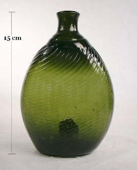 Early American pitkin flask in forest green; click to enlarge.