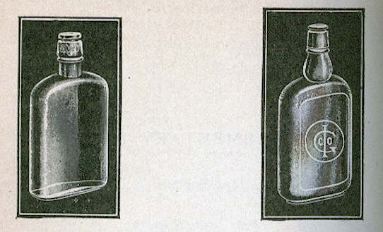 Hyperlink to an illustration from a 1908 glass catalog showing club sauce type stoppers in liquor flasks.