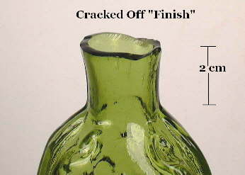 Cracked off finish on a scroll flask; click to enlarge.