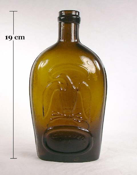 Hyperlink to an image of a mid 19th century pictorial flask with a champagne style finish.