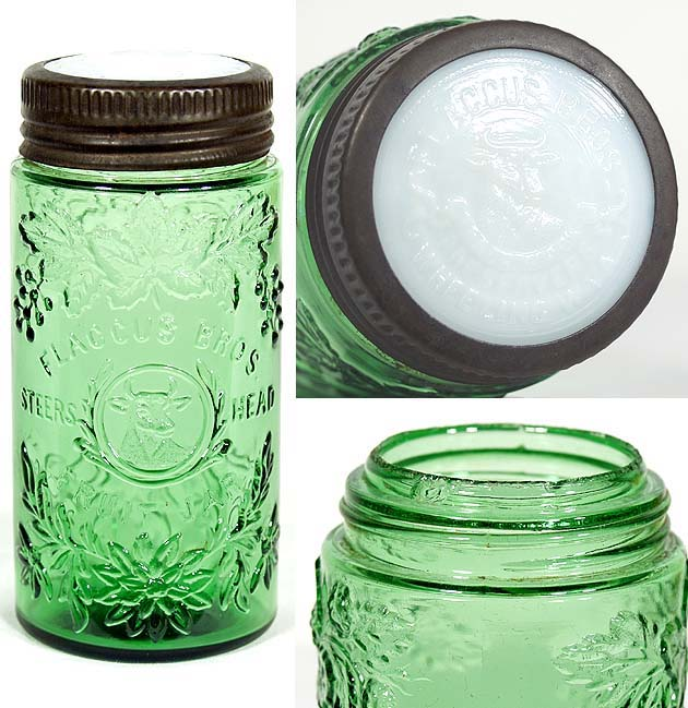 Hyperlink to an image of a Flaccus Bros. fruit jar with a screw-band and glass lid combination closure.