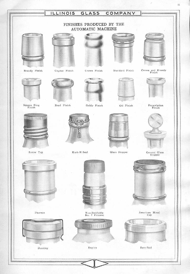 Hyperlink to an illustration of machine-made finishes from a 1920 Illinois Glass Company catalog.