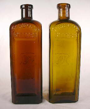 Two Peruvian Bitters blown in the same mold with different finishes types; click to enlarge.