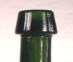 Tapered collar on a late 1840s mineral water; click to enlarge.