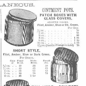 Metal caps illustrated in the 1880 Whitall Tatum glass catalog.