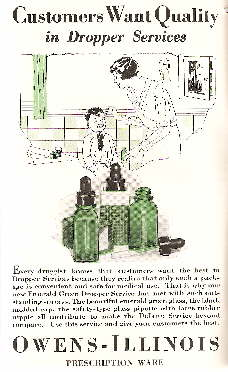 1932 advertisement for molded plastic bottle closures; click to enlarge.