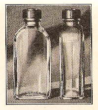 Generic 1932 medicinal bottles with plastic caps; click to enlarge.