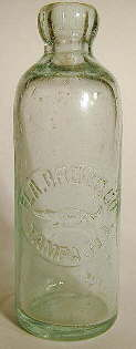 Hutchinson soda bottle used by a brewing company; click to enlarge.