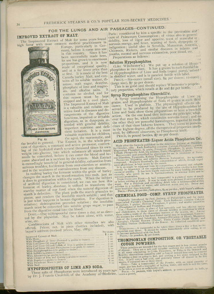Hyperlink to a scan of the extract of malt illustration in the 1886 catalog.