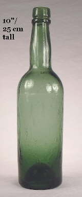 Tall stout or ale bottle from 1870-1880; click to enlarge.