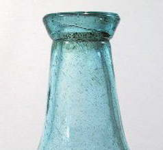 Tapered down finish from the early 19th century; click to see entire bottle.