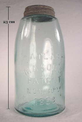 Early 20th century machine-made Mason's 1858 jar; click to enlarge.