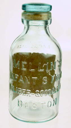 Ca. 1900 infant food bottle; click to enlarge.