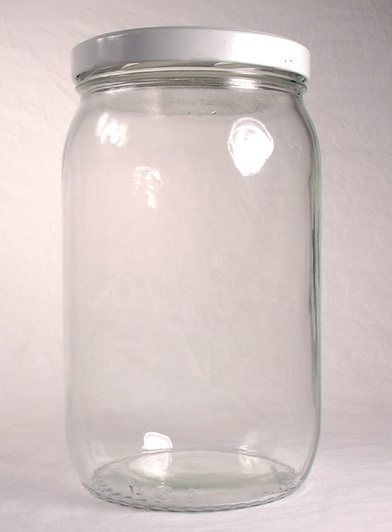 Hyperlink to an image of a late 20th century jar with a wide mouth external thread finish.