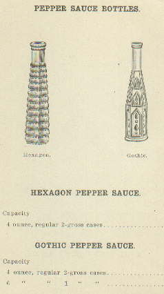 1922 pepper sauce bottles from Obear-Nester; click to enlarge.