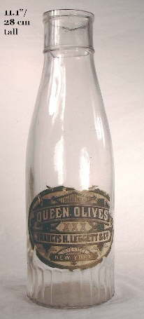 Ca. 1900 tall mouth-blown olive bottle; click to enlarge.