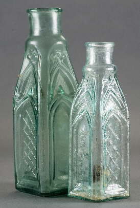 1865 gothic pickle bottles; click to enlarge.