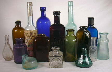 Group of household bottles dating from the 1840s to 1920s.