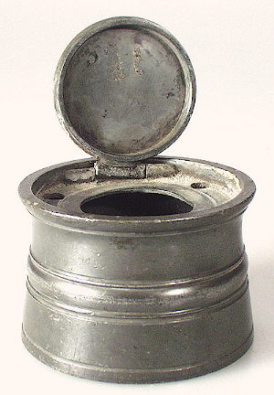 Early 19th century pewter inkwell.