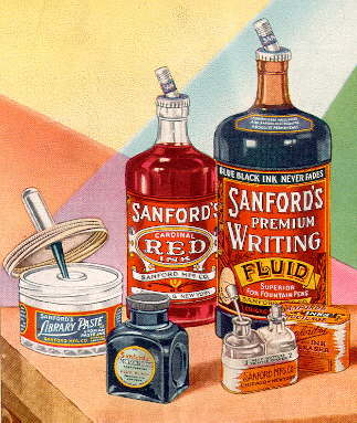 1928 Sanford's Ink advertisement; click to enlarge.
