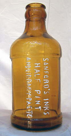 Sanfords bulk ink bottle from the 1910 to 1930 era; click to enlarge.