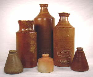 Stoneware ink bottles from the 1860 to 1880 era.
