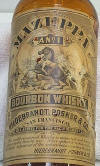 Close-up of the whiskey bottle label; click to enlarge.