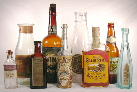 Grouping of labeled bottles; click to enlarge.