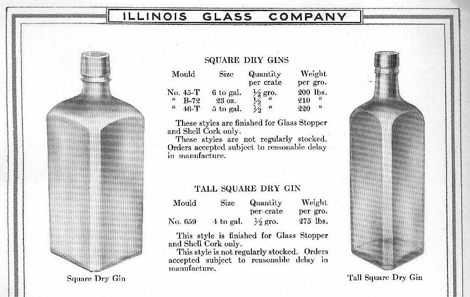 Hyperlink to an 1920 IGCo. illustration of square spirits bottles.