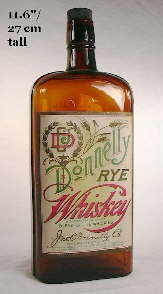 Early 20th century rye whiskey bottle; click to enlarge.