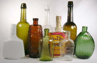 Group of liquor bottles; click to enlarge.