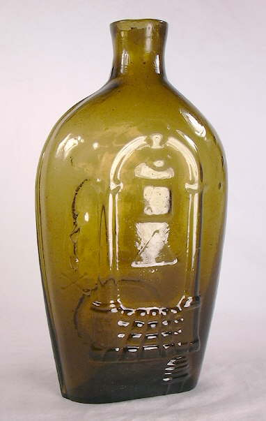 Hyperlink to a picture of a Stoddard pint Masonic flask front.