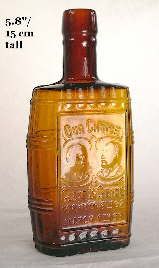 Half pint barrel flask with embossing; click to enlarge.