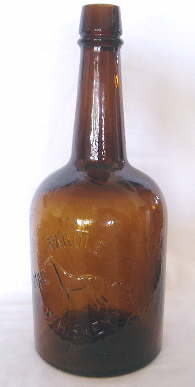 Ca. 1880 squat rye whiskey bottle; click to enlarge.