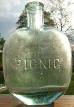 Picnic embossed half pint flask; click to enlarge.
