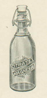 1922 Citrate of Magnesia bottle illustration; click to enlarge.