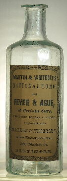 12-sided pontiled medicine bottle from the 1850s; click to enlarge.
